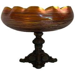 Loetz Style Art Glass Bronze Compote