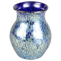 Loetz Witwe Art Nouveau Glass Vase Decor Cobalt Papillon, Bohemia, circa 1903