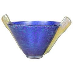 Loetz Witwe Blue Glass Bowl Decor Papillon Iriscident, Bohemia, circa 1936