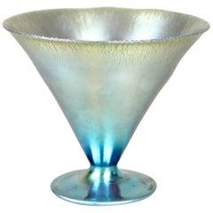 "Loetz Witwe Glass Goblin ""Cobalt Silberiris"" Iriscident, Bohemia, circa 1899"