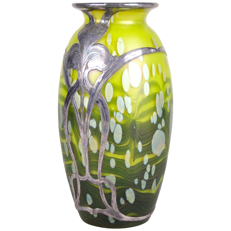 "Loetz Witwe Glass Vase ""Cytisus Yellow"" with Silver Overlay, Bohemia, circa 1902"