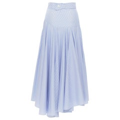 LOEWE 100% cotton blue whtie stripe belted dropped waist casual midi skirt FR34