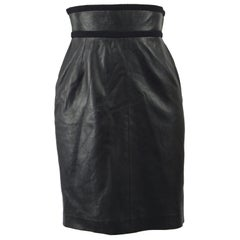 Loewe 1980s Black Leather Ultra High Waist Women's Vintage Pencil Skirt
