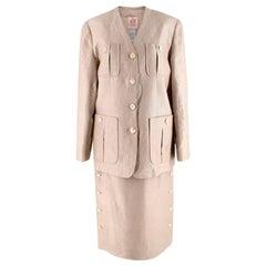 Loewe Beige Linen Vintage Skirt Suit - Size US 12