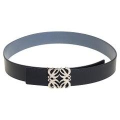 Loewe Black/Blue Leather Anagram Reversible Buckle Belt 95 CM