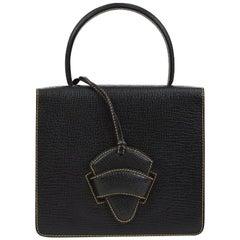 Loewe Black Leather Slip Buckle Kelly Style Top Handle Satchel Shoulder Bag