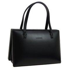 Loewe Black Leather Small Top Handle Satchel Tote Shopper Bag