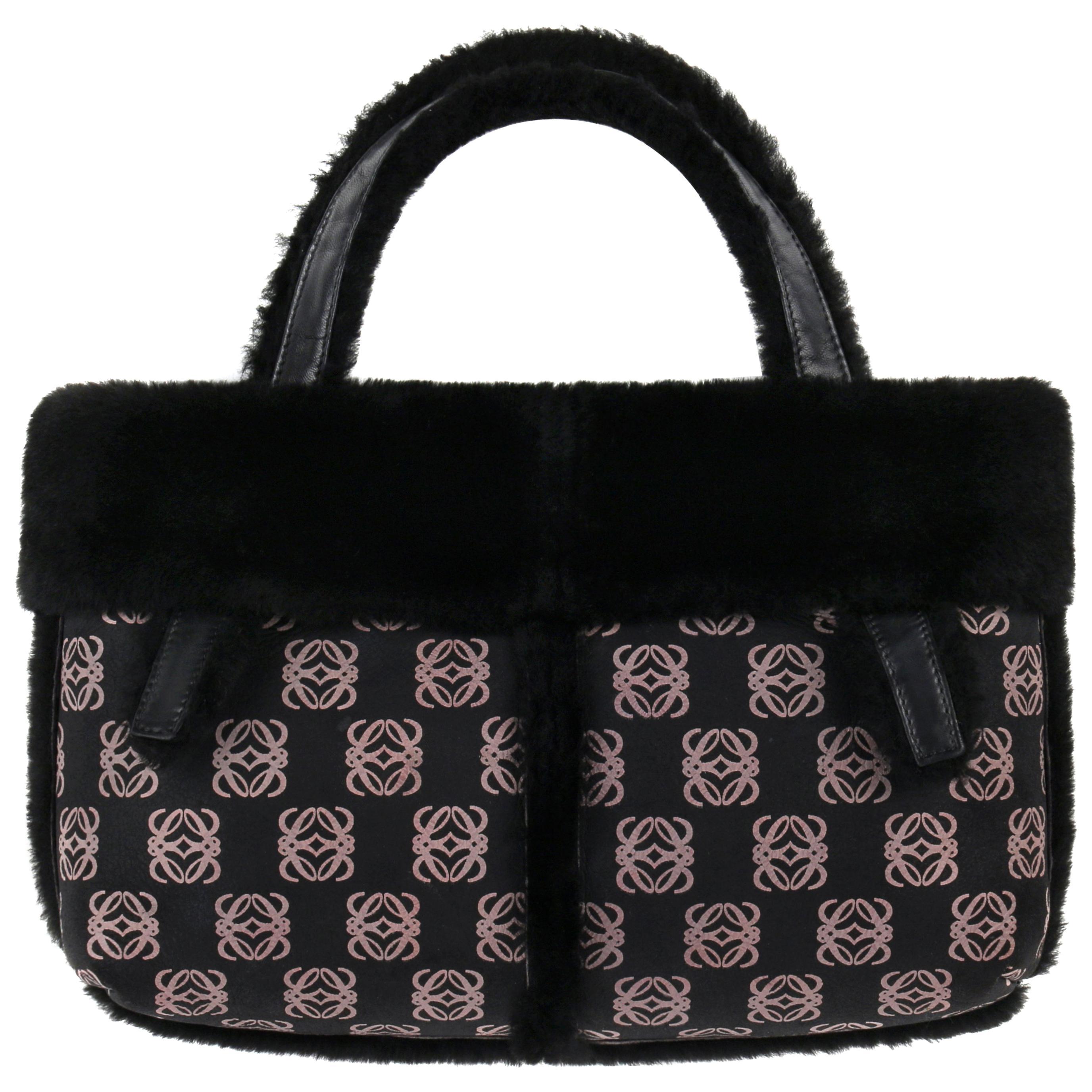 LOEWE Black & Mauve Logo Print Lambskin Shearling Leather Tote Top Handle Bag