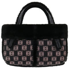 LOEWE Black & Mauve Logo Print Lambskin Shearling Leather Tote Top Handle Bag