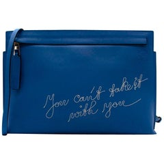 Loewe Blue Leather Embroidered T Pouch with Shoulder Strap