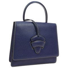 Loewe Blue Leather Slip Buckle Kelly Style Top Handle Satchel Shoulder Bag