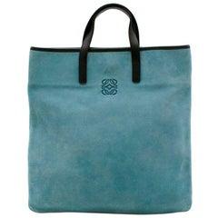 Loewe Blue Suede Top Handle Vintage Tote Bag
