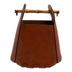 Loewe Brown Leather Bamboo Bucket Bag