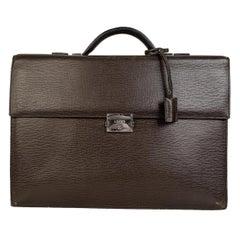 Loewe Brown Textured Leather Briefcase Work Bag