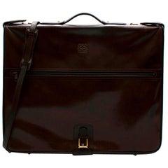 Loewe Brown Vintage Leather Garment Case With 2 Hangers