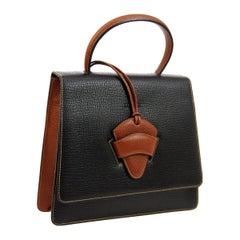 Loewe Cognac Black Slip Buckle Kelly Style Top Handle Satchel Shoulder Bag