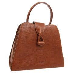 Loewe Cognac Leather Small Kelly Style Top Handle Satchel Evening Flap Bag