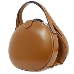 Loewe Cognac Leather Small Mini Top Handle Round Evening Satchel Bag