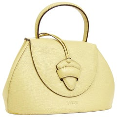 Loewe Cream Leather Small Top Handle Kelly Style Evening Satchel Shoulder Bag