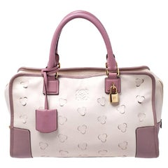 Loewe Cream/Pink Leather Limited Edition Amazona Satchel