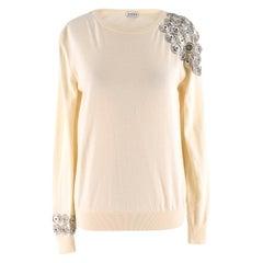 Loewe cream push stud-embellished wool sweater estimated size s
