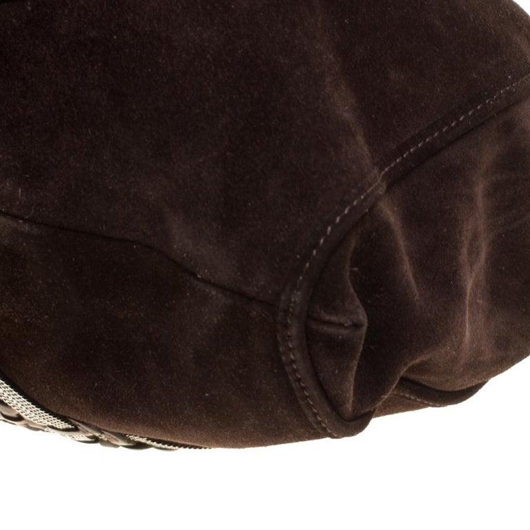 Loewe Dark Brown Suede Braided embellished Hobo For Sale 5