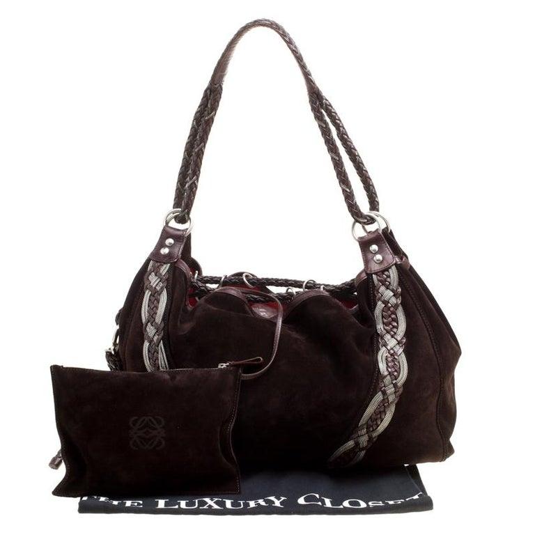 Loewe Dark Brown Suede Braided embellished Hobo For Sale 6