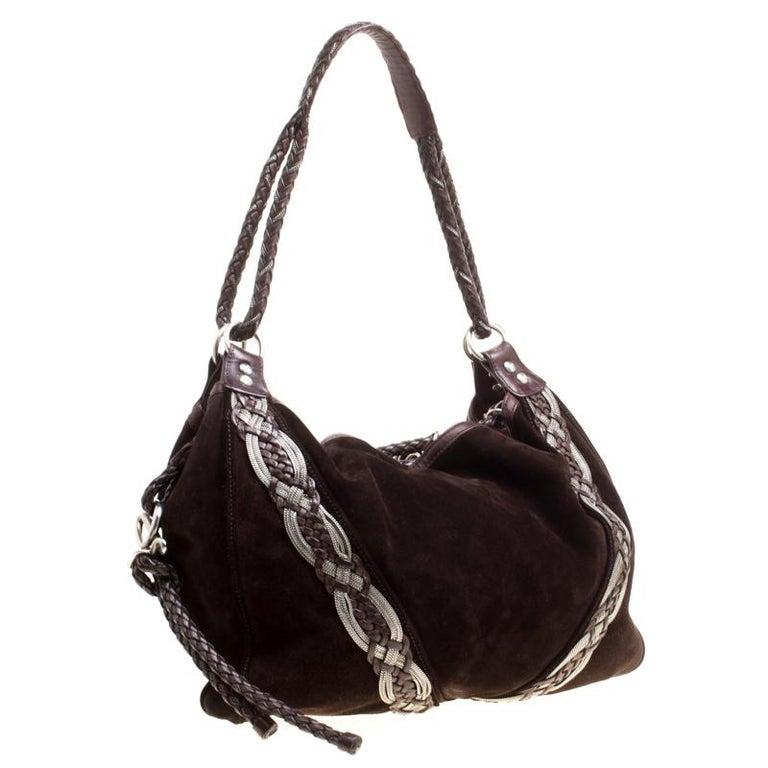 Loewe Dark Brown Suede Braided embellished Hobo In Good Condition For Sale In Dubai, Al Qouz 2