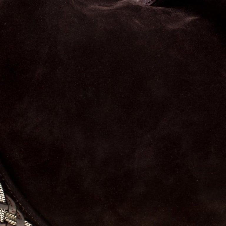 Women's Loewe Dark Brown Suede Braided embellished Hobo For Sale