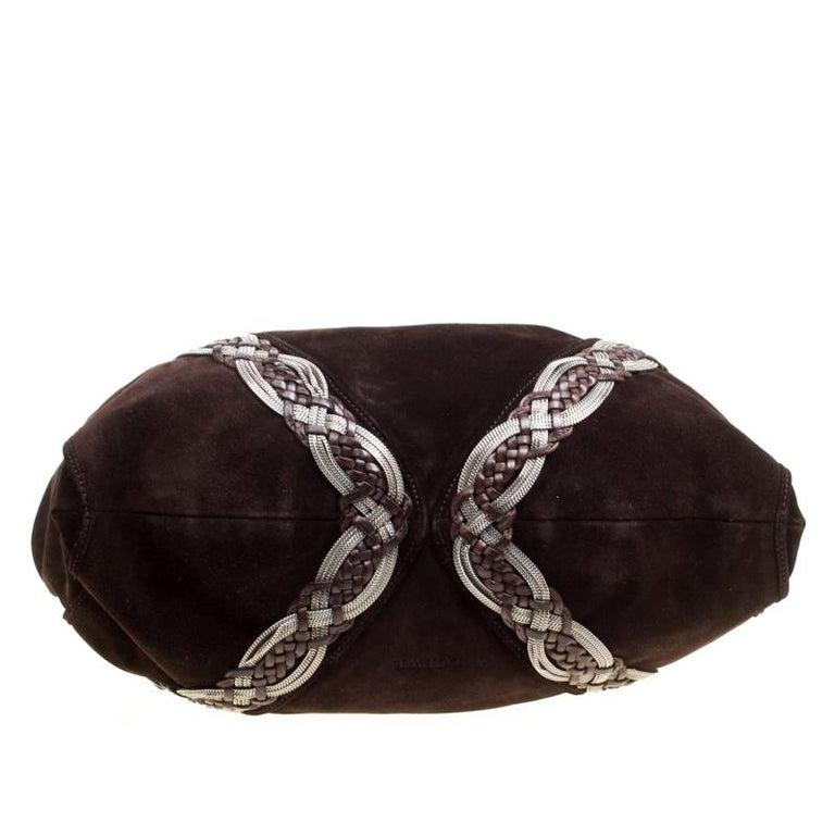 Loewe Dark Brown Suede Braided embellished Hobo For Sale 1