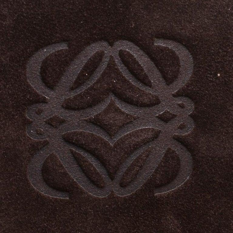 Loewe Dark Brown Suede Braided embellished Hobo For Sale 3