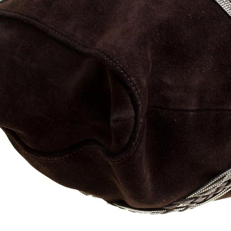 Loewe Dark Brown Suede Braided embellished Hobo For Sale 4
