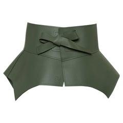 Loewe Green Leather Obi Corset Belt S