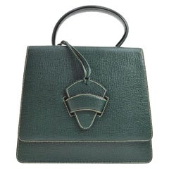 Loewe Green Leather Slip Buckle Kelly Style Top Handle Satchel Shoulder Bag