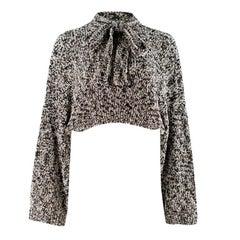 Loewe Grey Cropped Lurex Sweater M