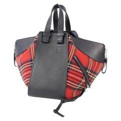 LOEWE ha MMock 2WAY shoulder plaid Womens handbag black x red