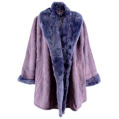 Loewe Lavender Shearling Lined Suede Vintage Oversize Coat - Size US 10