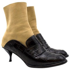 Loewe Leather and Suede Black & Tan Heeled Sock Boot Loafers 38 (IT)