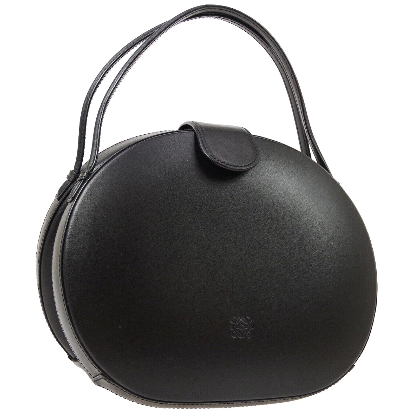 Loewe Leather Black Round Kelly Style Top Handle Satchel Bag