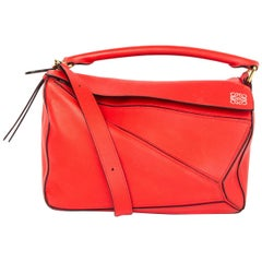 LOEWE lipstick red leather PUZZLE MEDIUM Shoulder Bag