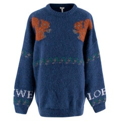 Loewe Men's Blue Squirrel Mohair-blend Knit Sweater - Small