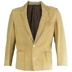 Loewe Mens Light Brown Suede Leather Vintage Blazer Jacket, 1980s EU 48