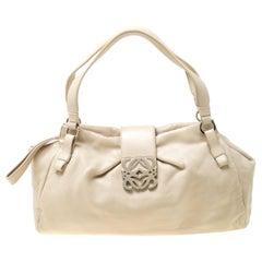 Loewe Off White Leather Logo Shoulder Bag