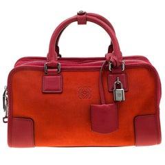 Loewe Orange/Red Suede and Leather Amazona Satchel