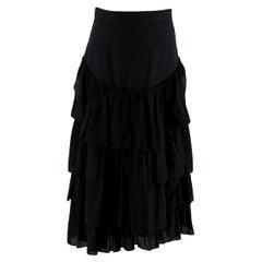 Loewe Paula's Ibiza Black Cotton Tiered Ruffled Skirt - US6