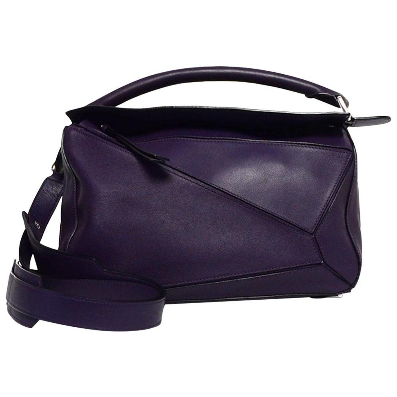 5e98f7e83f6 Loewe Purple Calfskin Leather Medium Puzzle Shoulder Bag w/ Crossbody Strap