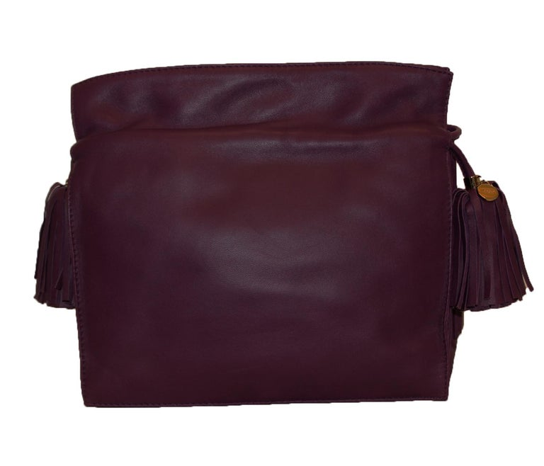 Black Loewe Purple Flamenco Tassel Bag For Sale
