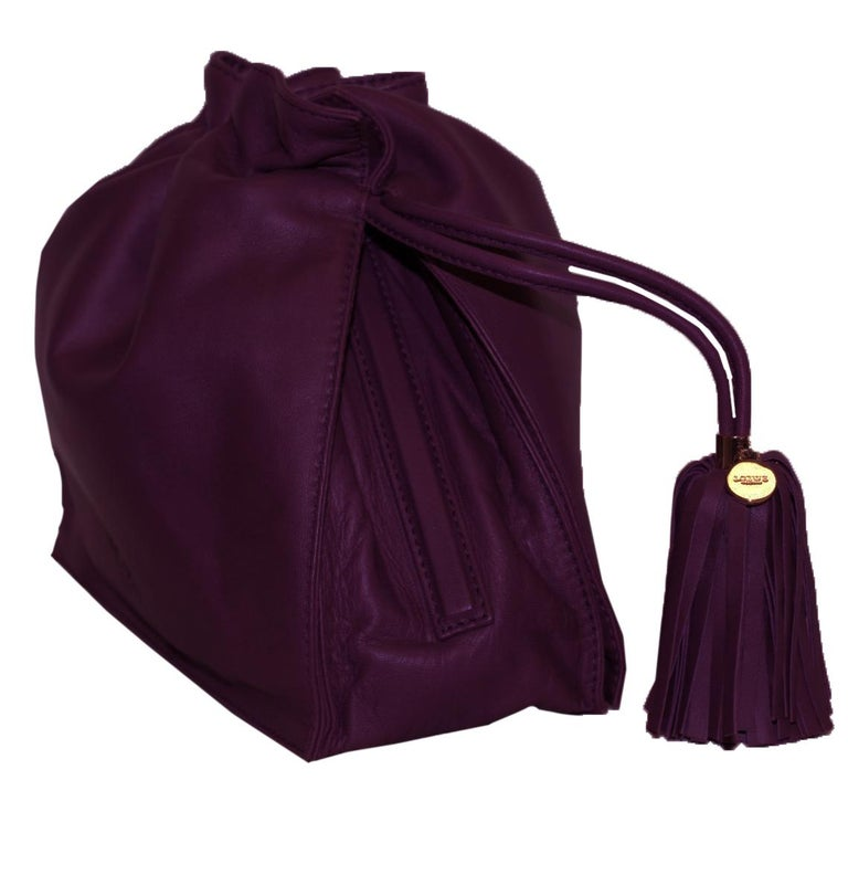 Loewe Purple Flamenco Tassel Bag In Excellent Condition For Sale In Palm Beach, FL