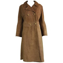 Loewe Rare Vintage 1960s Brown Suede Leather Double Breasted Coat