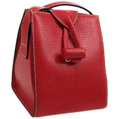 Loewe Red Leather Evening Small Box Mini Toggle Shoulder Flap Bag